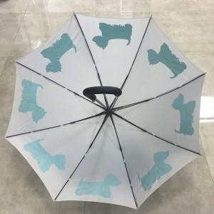 Hot selling cheap Apollo shape dog printing custom windproof rain/sun pongee fabric straight umbrella for wholesale (fibergalss ribs)