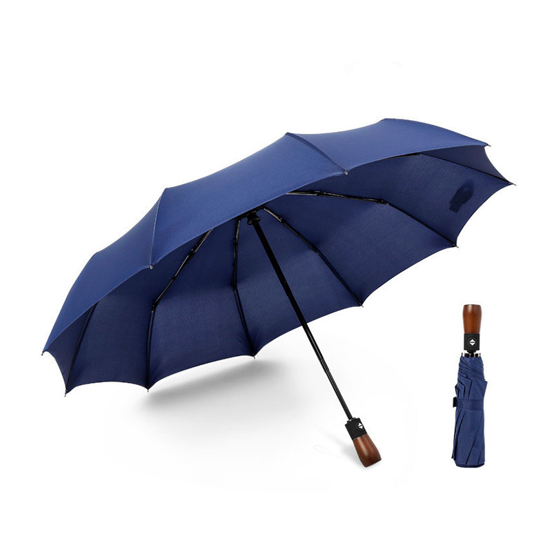 New Premium Umbrella Windproof  Large Umbrella Travel folding Umbrella with solid wooden handle