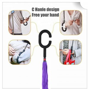 2019 Hot Selling New Products Stock Custom Double Layer Inside Out C Shape Handle inverted Reverse Umbrella