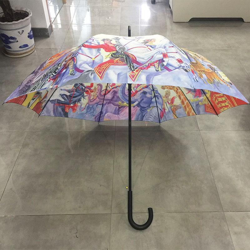 multi-colored-printing-Stick-umbrella