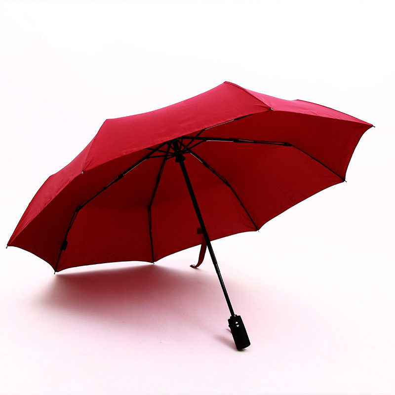 Compact red color fully automatic foldable umbrellas