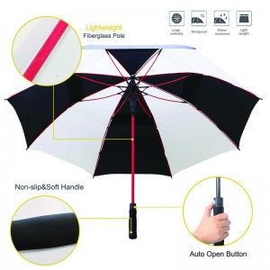 Top quality windproof red fibergalss ribs umbrella Professional custom fabric white and black golf umbrella manufacturer from China