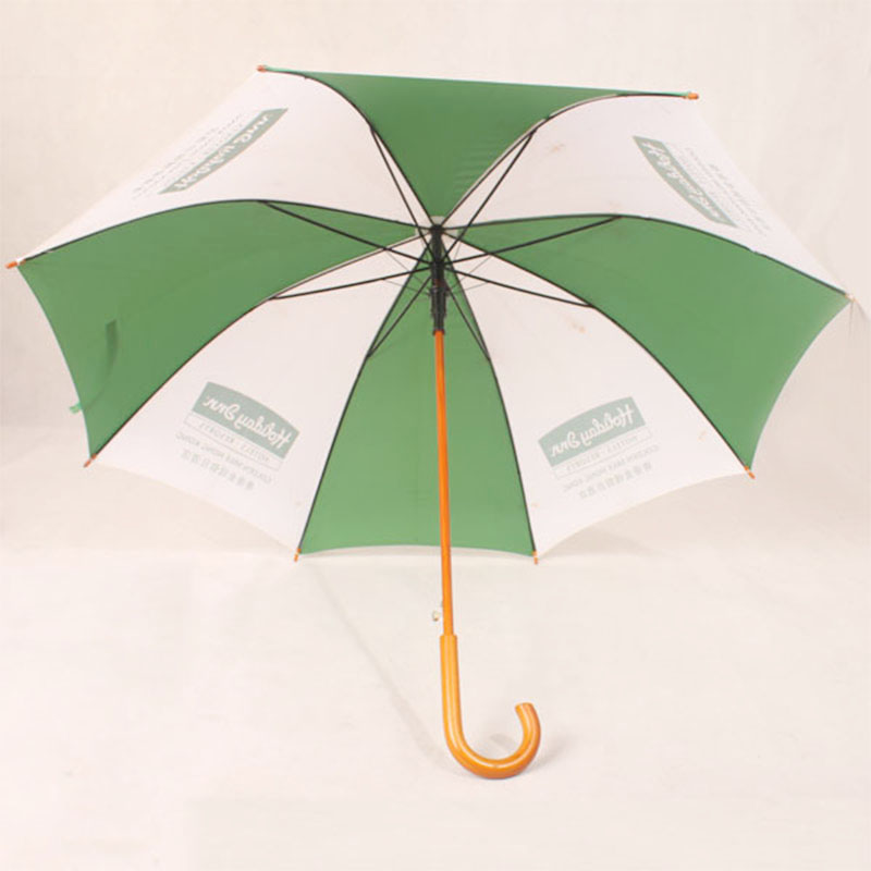 Wholesale 48inch white and green color Custom Printed Wooden Handle striaght Umbrella windproof