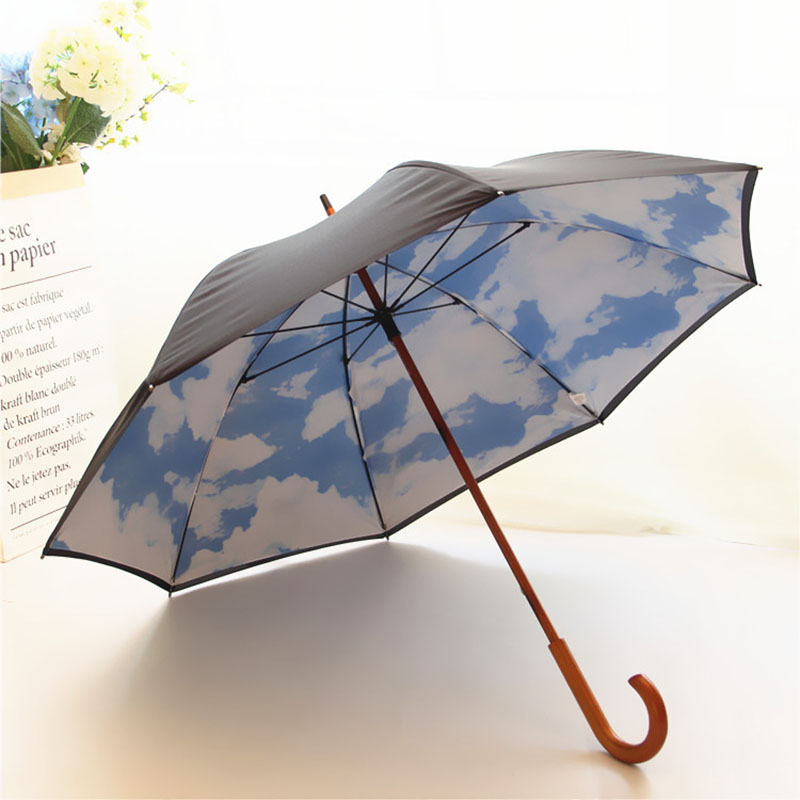 Auto open custom logo printed 2 layers wooden handle creative blue sky white cloud design straight umbrella from china suppliers for sale