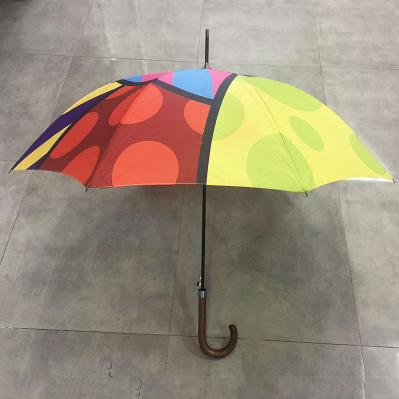 High quality Anti-UV sun protection Auto open custom Fashion Colorful printing design windproof waterproof straight umbrella with J wooden handle