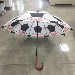 Custom Sport Football Print Umbrella Waterproof wooden handle Umbrella Automatic Open