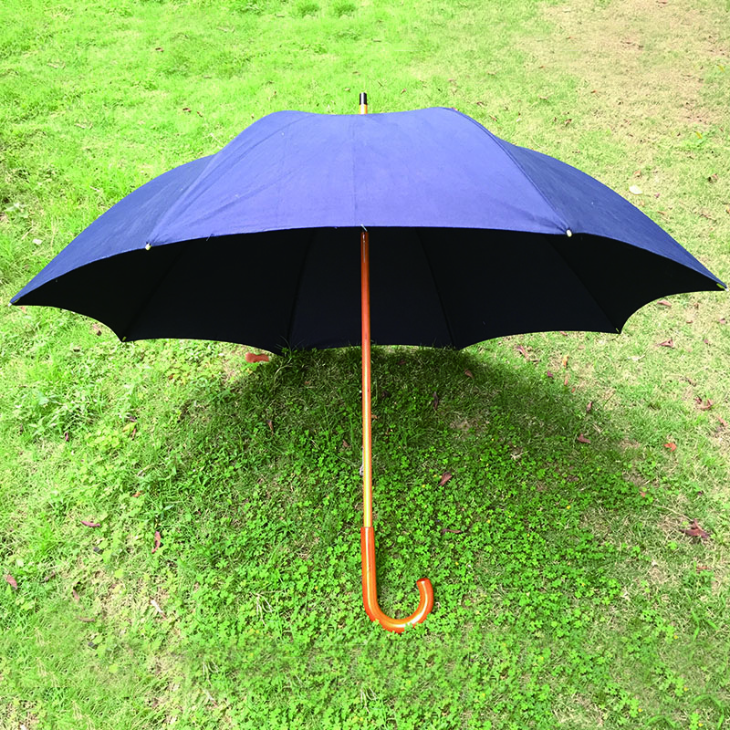 Classic Advertising promotion umbrella Auto Open Umbrella with Real Wooden Hook Handle