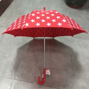 Professional produce cheap customized standard 19inch 8ribs promotion gift straight red kid umbrella with red hook plastic handle (Safety auto open)