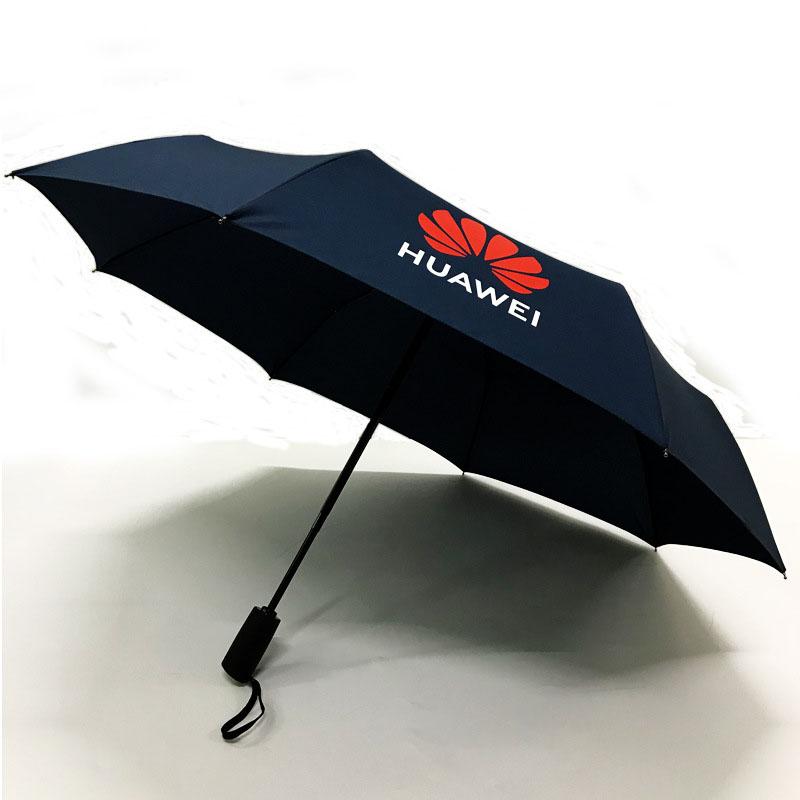 Custom Automatic Opening and Closing Logo All Over Print Folding Umbrella Black