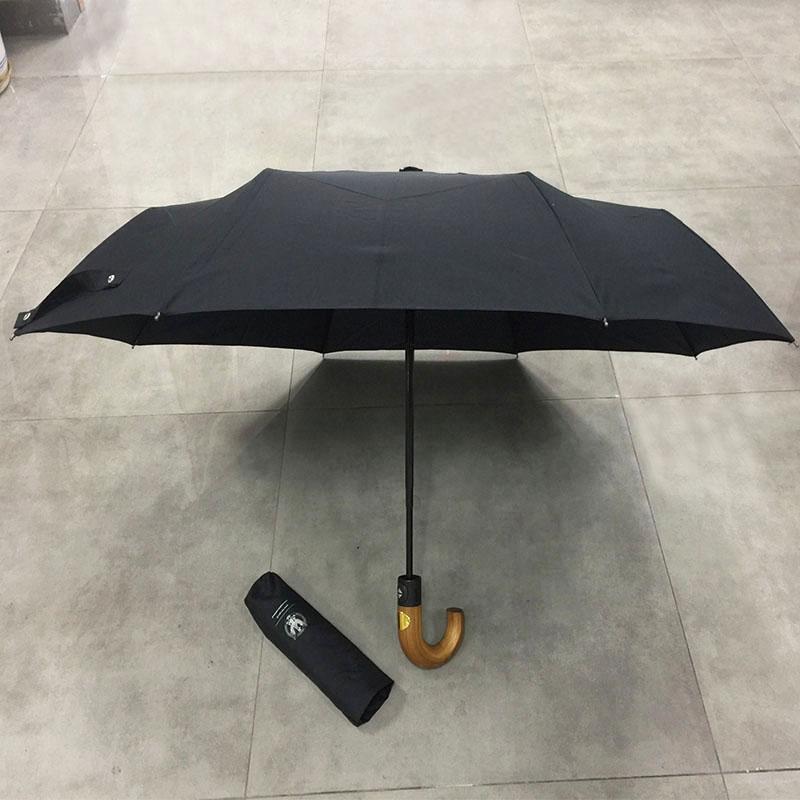Traditional Full Automatic Folding Umbrella Wooden handle Strong Windproof Super Wide Outdoor Hook Handle Black Rain Umbrellas Women Parasol Men Paraguas