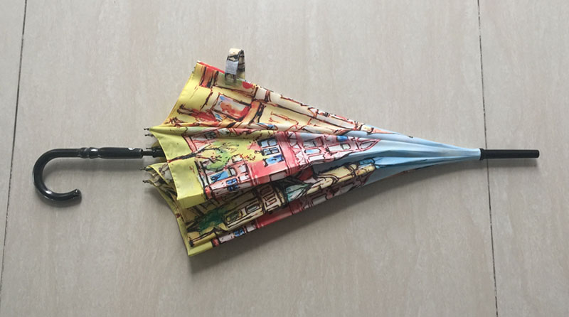 Unique-design-Pagoda-Umbrella-with-Hook-Handle
